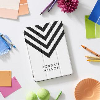 Modern Minimalist White with Black Chevron iPad Pro Cover
