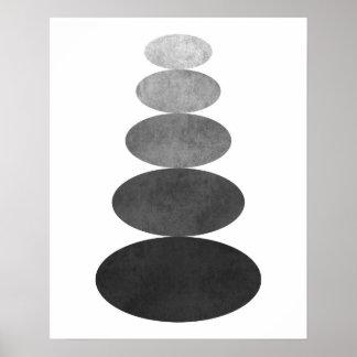 Modern minimalist zen pebble art print