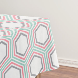 Modern Mint and Coral Geometric Pattern Tablecloth