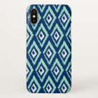 Modern Mint and Navy Blue Ikat Pattern iPhone X Case