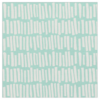 Modern Mint and White Line Pattern Fabric