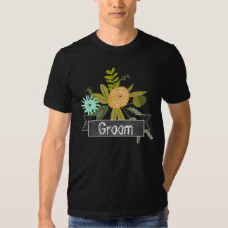 Modern Mint Chalkboard Groom Wedding T-shirt