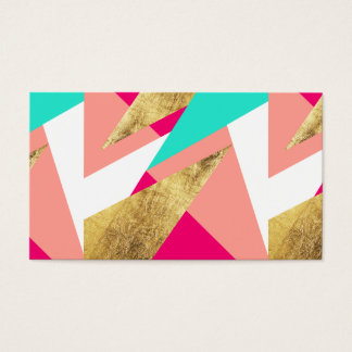 Modern mint coral gold triangles color block