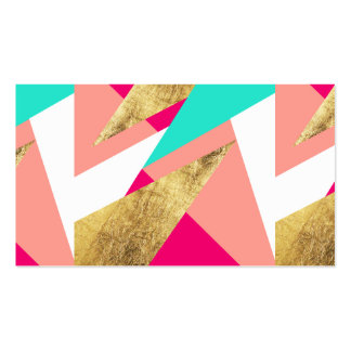 Modern mint coral gold triangles color block pack of standard business cards