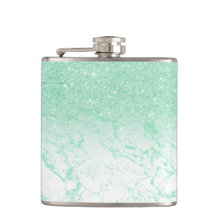 Modern mint glitter ombre mint turquoise marble hip flask