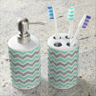 Modern Mint Gray Silver Glitter bathroom decor Bathroom Set