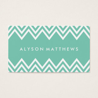 Modern Mint Green and White Chevron