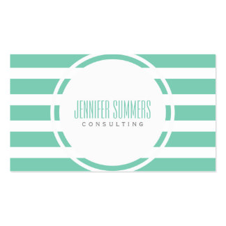 Modern Mint-Green And White Stripes Pattern Pack Of Standard Business Cards