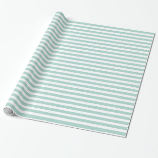 Modern Mint Green Color Stripes Pattern Wrapping Paper