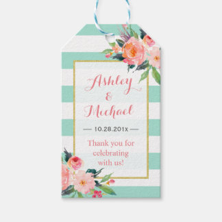 Modern Mint Green Floral Decor | Wedding Thank You Gift Tags