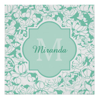 Modern Mint Green Floral Girly Monogram With Name Poster