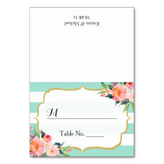 Modern Mint Green Stripes Floral Wedding Place Table Card