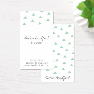 Modern Mint Green Triangles Geo Business Cards