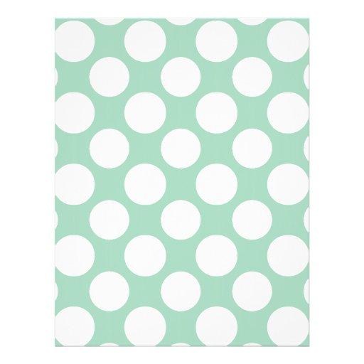 Modern Mint Green White Polka Dots Pattern Custom Flyer