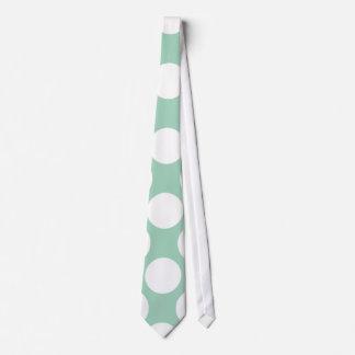 Modern Mint Green White Polka Dots Pattern Tie