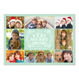 Modern Mint & Swirls Collage Holidays Photo Card 13 Cm X 18 Cm Invitation Card