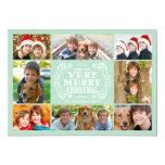 Modern Mint & Swirls Collage Holidays Photo Card Invitation