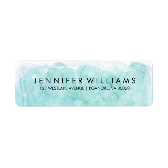 Modern Mint Watercolor Return Address Label