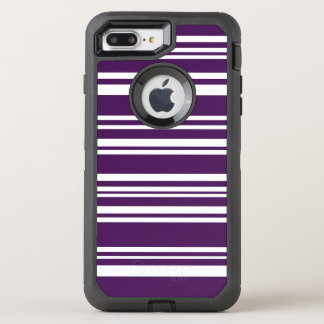 Modern Mixed Purple and White Stripes OtterBox Defender iPhone 8 Plus/7 Plus Case