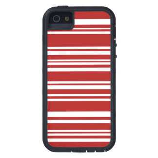 Modern Mixed Red and White Stripes iPhone 5 Cases