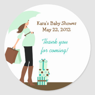 Modern Mom (Green) Baby Shower  Favor Sticker