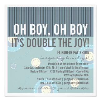 Modern Mom Twin Boy Baby Shower Invitation