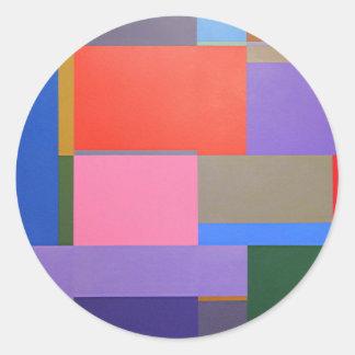 Modern/Mondrian Art Classic Round Sticker
