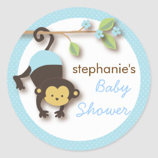 Modern Monkey Sweet Boy Baby Shower in Blue Round Sticker