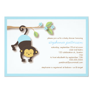 Modern Monkey Sweet Boy Baby Shower Invitation