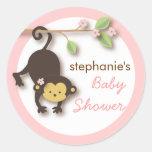 Modern Monkey Sweet Girl Baby Shower in Pink Round Sticker