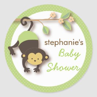 Modern Monkey Sweet Neutral Baby Shower | Green Classic Round Sticker