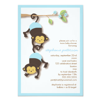 Modern Monkey Twin Boys Baby Shower Invitation