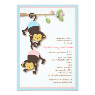 Modern Monkey Twin Girl & Boy Baby Shower 13 Cm X 18 Cm Invitation Card