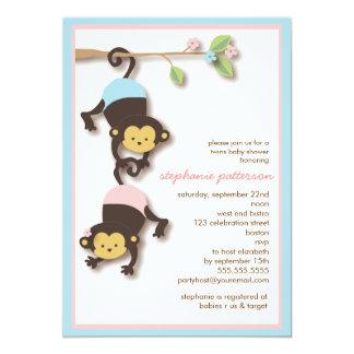 Modern Monkey Twin Girl & Boy Baby Shower 13 Cm X 18 Cm Invitation Card