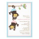 Modern Monkey Twin Girl & Boy Baby Shower Custom Invitation