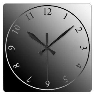 Modern monochrome black white silver square wall clock