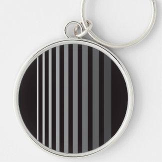 Modern Monochrome Gradient Vertical Stripes Key Ring