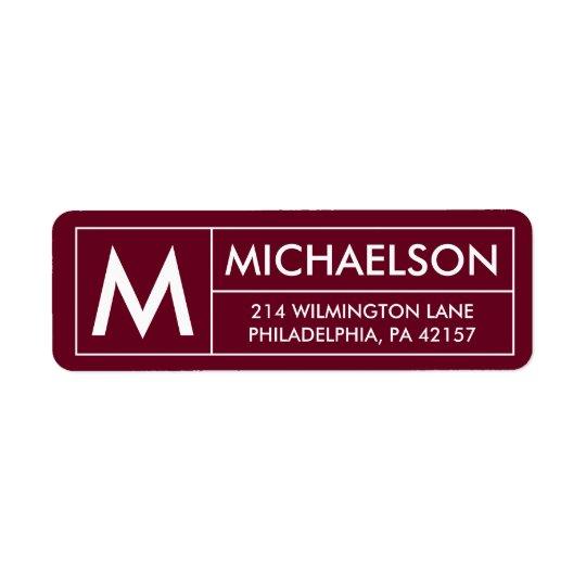 Modern | Monogram Address Return Address Label