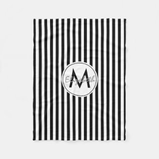 Modern Monogram and Custom Name Striped Fleece Blanket