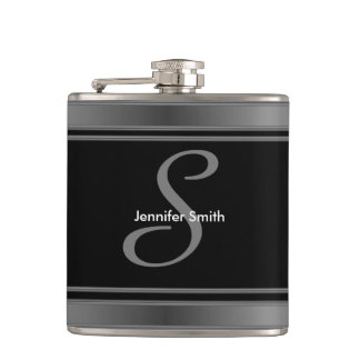 Modern Monogram and Name Design Hip Flask
