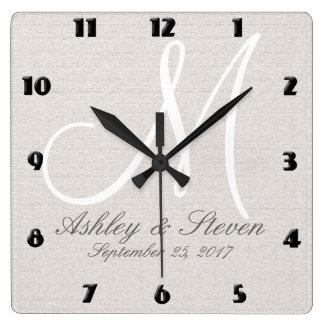 Modern Monogram | Beige Square Wall Clock