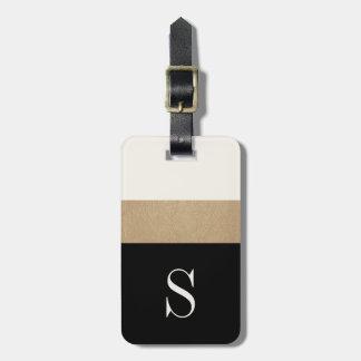 Modern Monogram Black Gold Stripe Luggage Tag