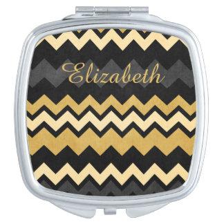 Modern Monogram Black Gray Gold Chevron Pattern Makeup Mirrors