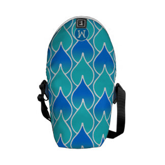 Modern Monogram Blue and Aqua Geometric Pattern Courier Bags