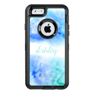 Modern monogram blue turquoise beach watercolor OtterBox defender iPhone case
