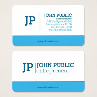Modern Monogram Blue White Business Card