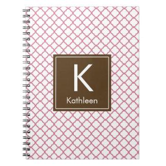 Modern Monogram (Brown/Pink) Notebooks