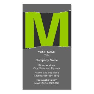 Modern Monogram Business Card - Green/Gray