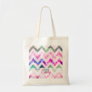 Modern Monogram Chevron Pattern Girly Pink Clouds Tote Bag