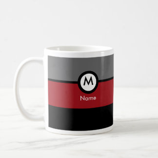 Modern Monogram Coffee Mug - Black, Red, Gray
